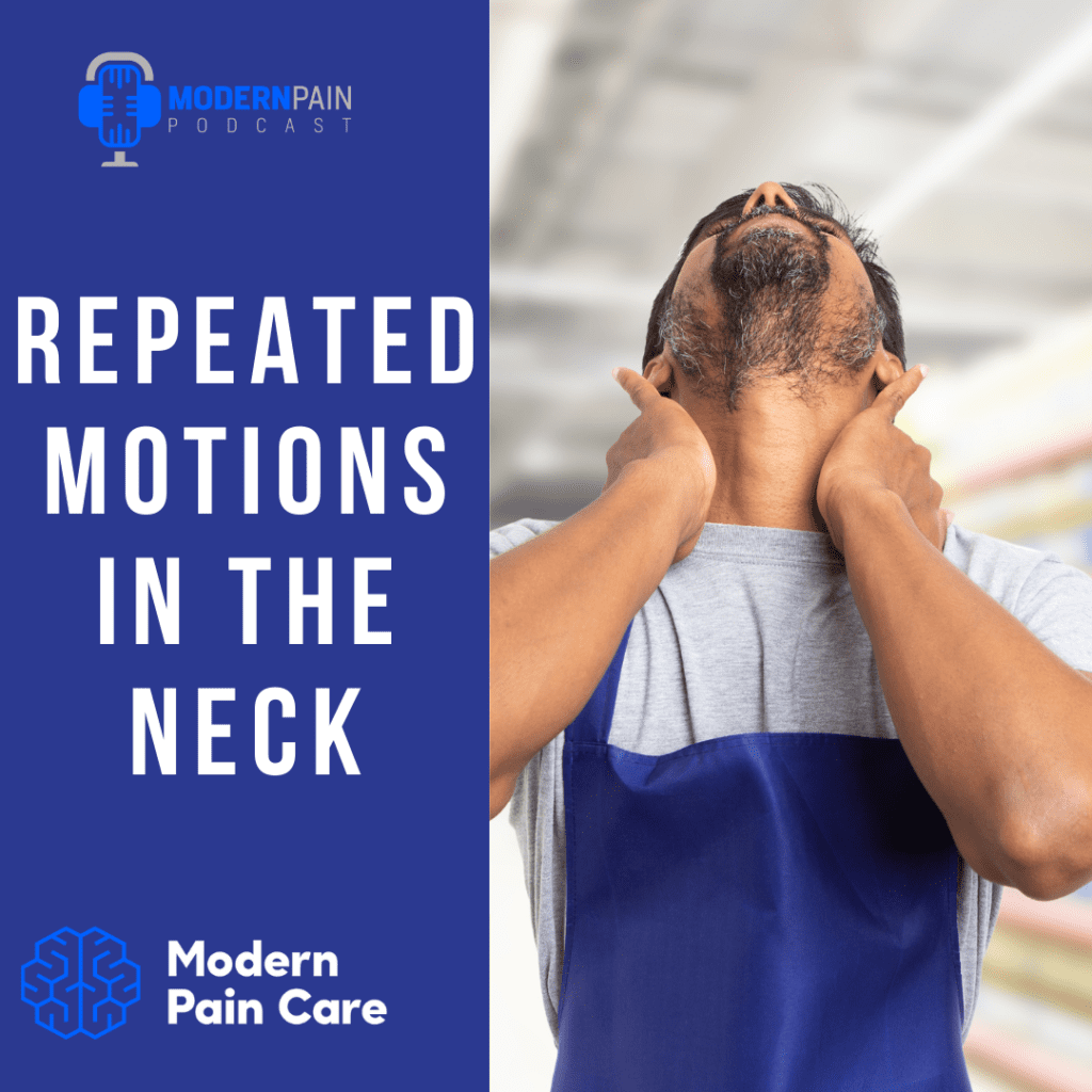"""""""Repeated Motions in the Neck"""" title and picture of man holding his neck in discomfort"""